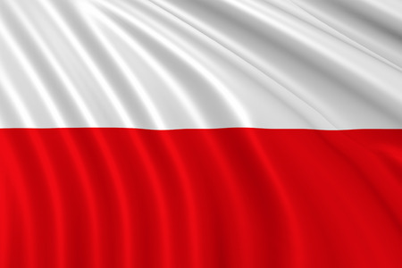 nationalist: Flag of Poland waing in the wind