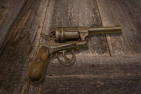 inattention: old ancient shotgun on the desk