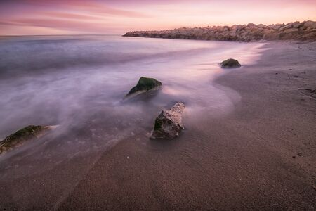 long exposure: Beach Landscape on sunset,long exposure Stock Photo