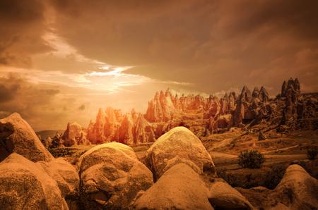 goreme: Cappadocia, Anatolia, Turkey. Volcanic mountains in Goreme national park. Stock Photo