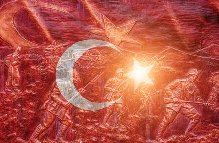 素晴らしい光沢のあるトルコのフラグ 写真素材