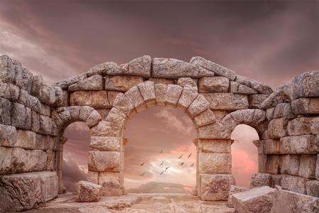 templo griego: Templo de fantasía medieval y gran cielo