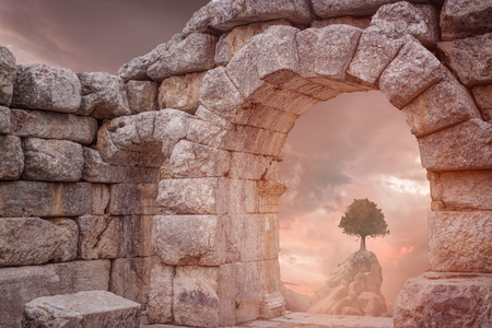 Fantasy Medieval temple and lonely tree Stock Photo