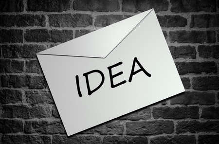 seal stamper: Idea concept  envelope on the wall Stock Photo