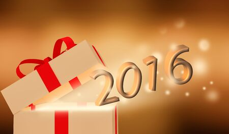new years resolution: Shiny Gift boxwith 2016 concept Stock Photo