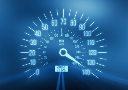 high end: Speedometer on blue background