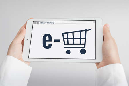 web shopping: E-commerce concept with tablet pc Stock Photo