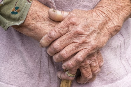 aging woman: Aging process - very old senior woman hands wrinkled skin