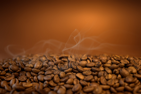 Hot Coffee Beans achtergrond Stockfoto