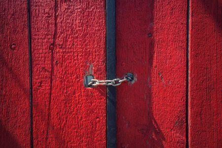 red door: Red door with lock
