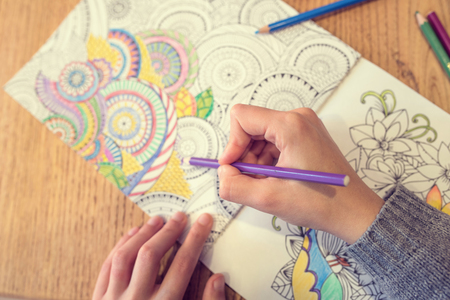 throat chakra: Paint Coloring Book for Adults Stock Photo