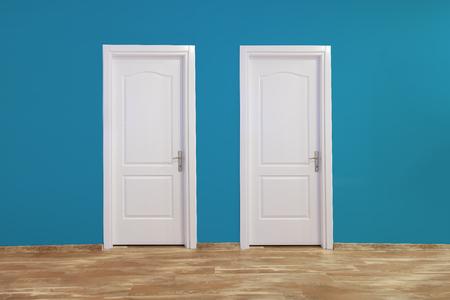 blue wall: Blue white door in interior.