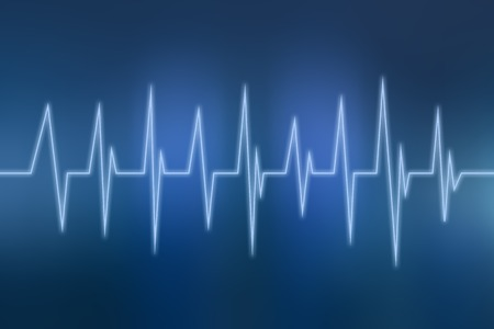 Blue Heart beats cardiogram