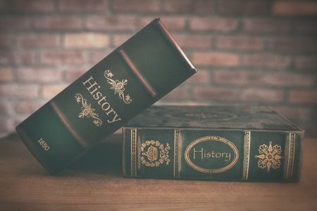 old history book close up Stock Photo