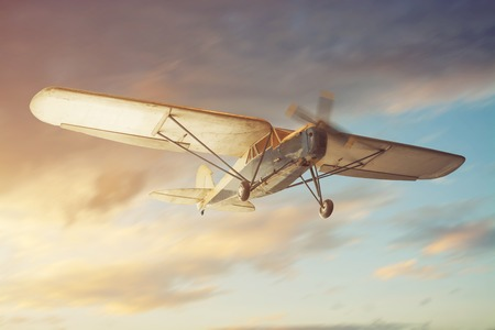 Old classic airplane on the air Stock Photo