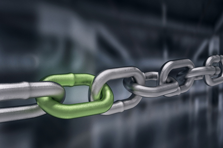 roped: Green different link,3d rendering Stock Photo