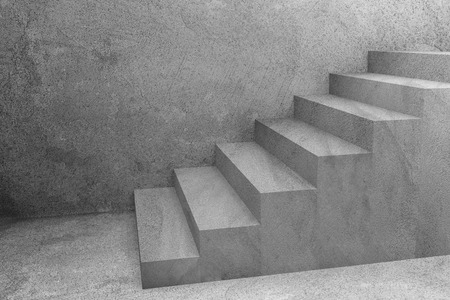 concrete staircase under construction,,3d rendering Stock Photo