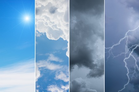 meteorology: collection of 4 sky backgrounds,Meteorology Concept. Stock Photo