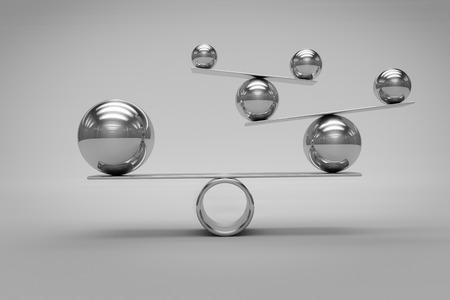 chrome: Balance Concept with Chrome Balls Stock Photo