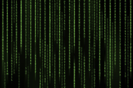 encoded: Matrix background with the green symbols