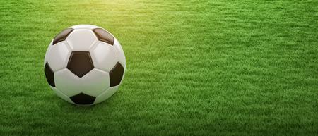 Alta resolución balón de fútbol en 3D en la hierba verde