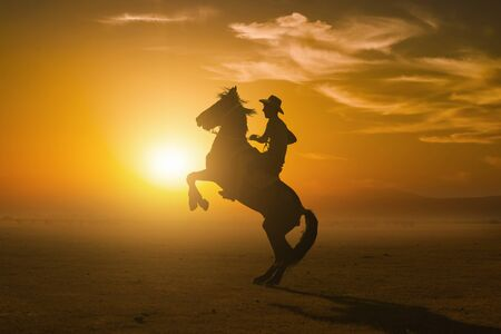 A Rider Silhouette at sunset Stock Photo