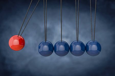3d Newtons cradle. Red sphere hanging on threads hitting many blue ones. Leadership, power and uniqueness concept.