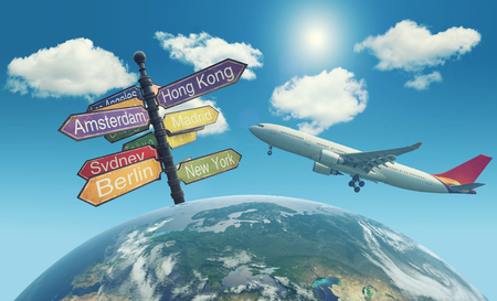 Directional Cities and airplane over the world Stock Photo