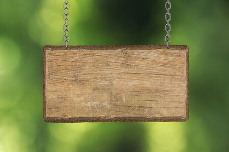 blank wooden sign board hanging on branch Stock Photo