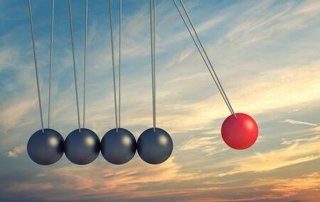 Teamwork andLeadership concept with Pendulum,3d