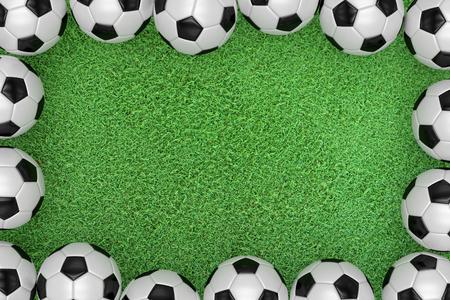 Soccer football on green grass field, Top view,3d Stock Photo