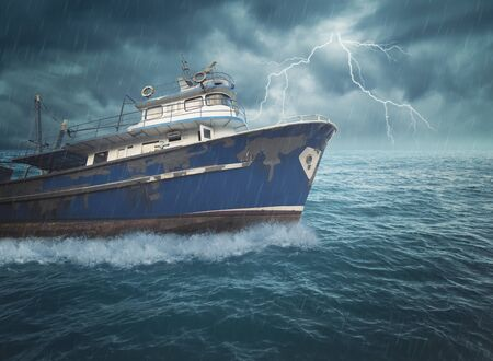 Boat on the ocean with great storm