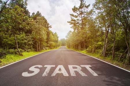 Start line on the highway concept for business planning, strategy and challenge or career path, opportunity and change Banco de Imagens
