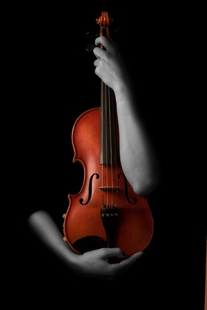 symphonic: Violin music instrument violinist. Classical player hands. Details of violin playing isolated on black