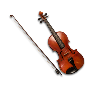 Brown violin isolated under the white background