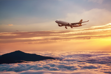 Airplane in the sky at sunset - Passenger Airliner aircraft.