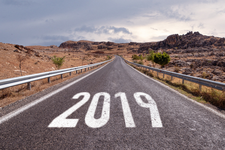 Empty road ahead message on the highway lane New Year Resolution 2019 Stock Photo