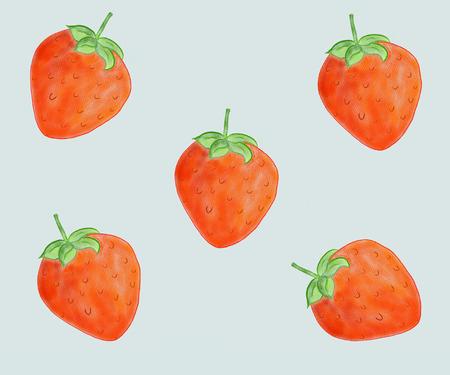 Strawberry fruit seamless pattern background. green background Stockfoto