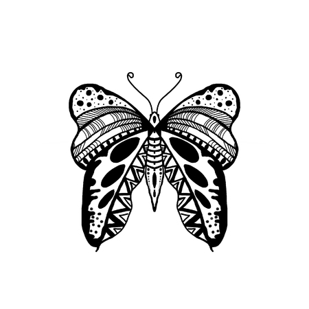 Black Hand Drawn Zentangle Style Butterfly Illustration.Butterfly wing