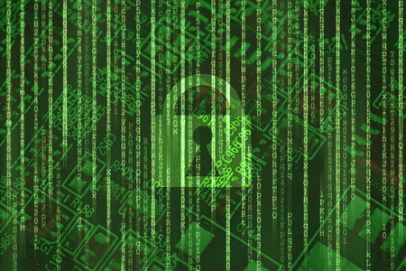 Cyber security access lock on binary matrix green background Internet online data protection