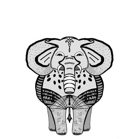 Decorative Elephant Illustration. Indian style elephant front view with stylized ornament . Banco de Imagens