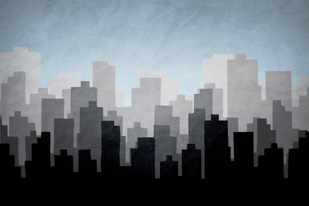 City skyline illustration.Silhouette of Downtown and Urban landscape .