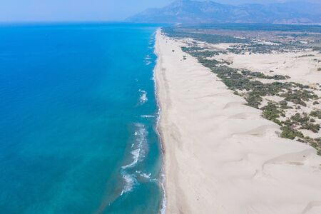 Aereal view of an untouched Patara Beach in Antalya,Turkey Stock Photo