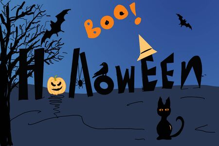 Black cat in darkness with bats and pumpkin celebrating halloween.