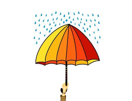 Illustration of feeling safe under umbrella in rainy weather. Stock Photo