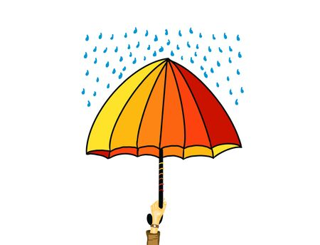 Illustration of feeling safe under umbrella in rainy weather. 스톡 콘텐츠
