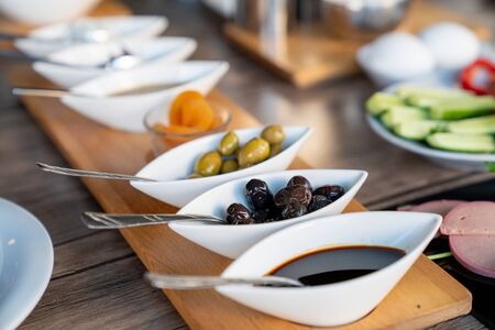 Preperation of a rich mediterranean breakfast for a healthy life. 스톡 콘텐츠