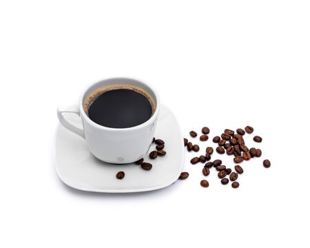 Black coffee and browns coffee beans on white background