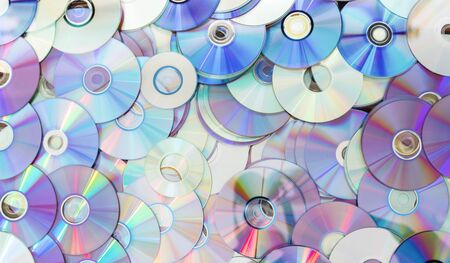 Old technology, waste compact disc collection decoration for pattern. cd background concept