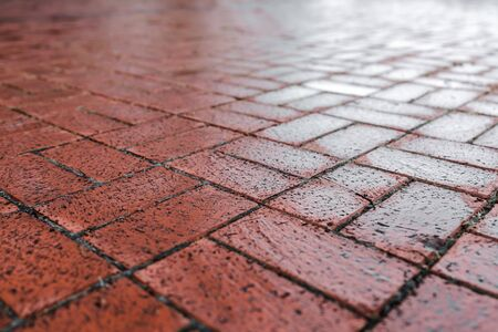Brown cobble stone walkway get wet cause of rain. Pavement texture
